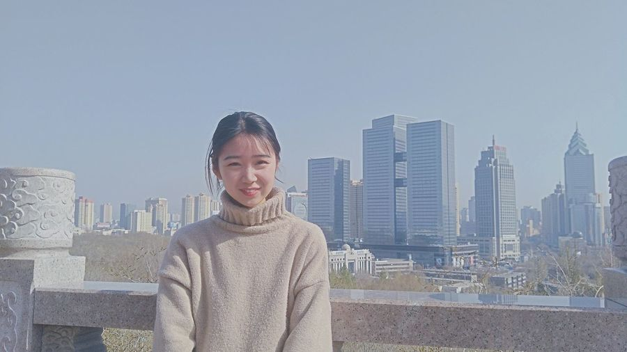 City Cityscape Urban Skyline Portrait Smiling Warm Clothing Skyscraper Young Women Business Happiness