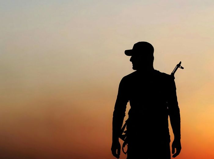 me , in Mosul , War Against Isis Standing Iraq Army Landscape Sunset Day
