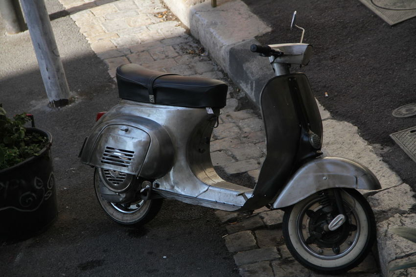 Vintage scooter Close Up Customized Mode Of Transport Motor Scooter Motorcycle Old School Old Scooter Old-fashioned Parking Scooter Silver  Silvery Transportation Vespa Vespavintage Vintage
