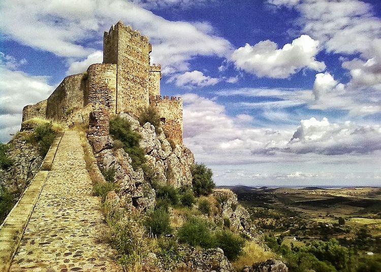 Castle Ruin Extremadura Spain Alburquerque Sky And Clouds Landscape Ancient Building