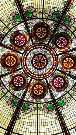 Pattern Religion Spirituality Full Frame Rose Window Place Of Worship Architecture Prism Glass Beautiful Art Ceiling Stained Glass Stained-glass Windows Multi Colored Lighted Mosaic Puzzle  Colored Window Plants