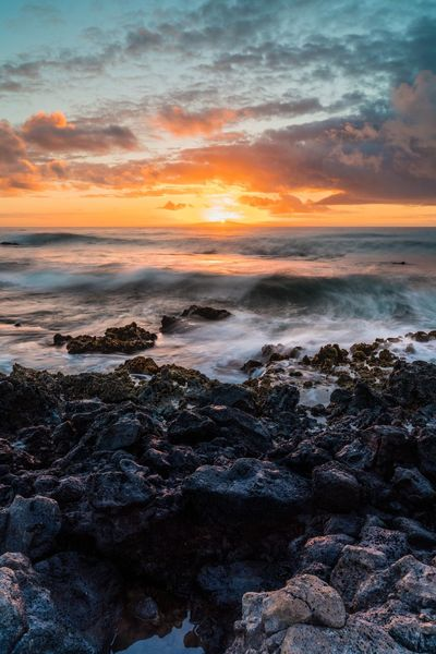 Sunrise at Sandy's Ocean Wave Sunrise Sunset Sea Beauty In Nature Nature Beach Orange Color Scenics Rock - Object No People Water Wave Tranquility Sky Tranquil Scene Horizon Over Water Outdoors Day