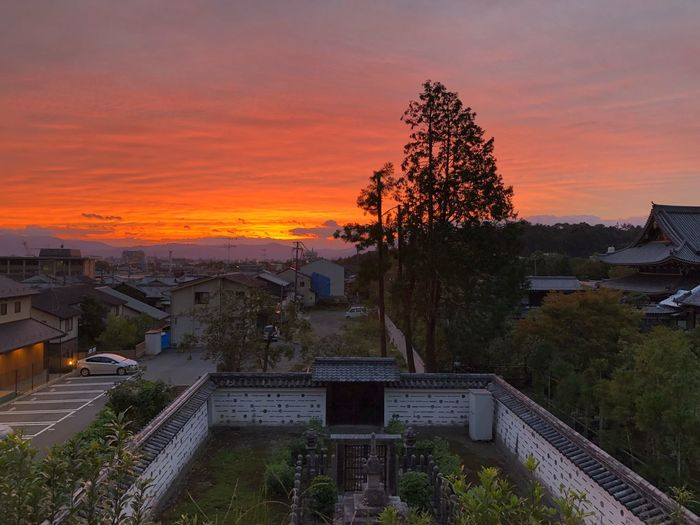 Kyōto by sunset. As seen from the philosopher's path. Cemetery Sunset Tree Architecture Built Structure Plant Orange Color Building Exterior Residential District Beauty In Nature