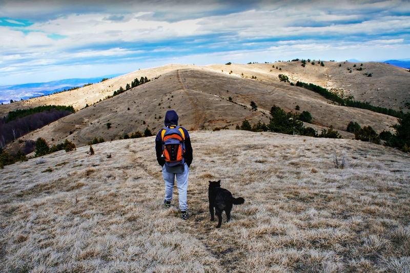 Young man from behind with backpack walking in hills with black dog against blue cloudy sky. hiking