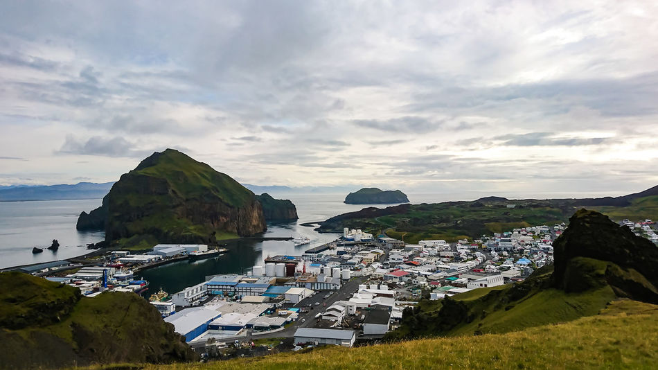 Heimaey, Vestmannaeyjabær Sky Water Sea Nature Bay Outdoors Scenics - Nature Architecture Vestmannaeyjar Iceland Memories Westman Islands Beauty In Nature Heimaey Vestmannaeyjabær