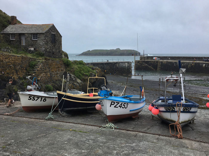 Mullion Cove Cloudy Fishing Village Harbour Harbour View Beauty In Nature Boats Building Exterior Built Structure Cloud - Sky Cornwall Day Harbour Wall Island Mode Of Transport Moored Mullion Mullion Cove Nautical Vessel Outdoors Sea Seascape The Lizard Tourism Transportation