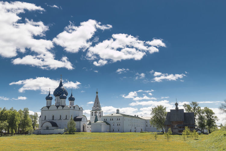 Suzdal kremlin, Russia. Suzdal Kremlin Architecture Belief Building Building Exterior Built Structure Cloud - Sky Day Nature No People Outdoors Place Of Worship Plant Religion Sky Spire  Spirituality Sunlight Travel Destinations Tree