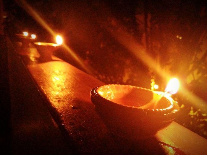 Flame Cultures Diya - Oil Lamp Night Diwali Close-up