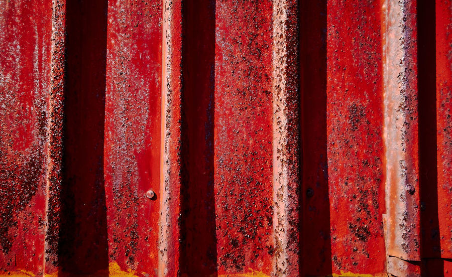 Architecture Backgrounds Close-up Corrugated Iron Day Full Frame No People Outdoors Paint Pattern Red Red Color Rusty Strain Textured  Weathered
