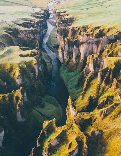 Canyon run Drone  Nature_collection Travel Destinations Iceland_collection Iceland Best Of EyeEm Best EyeEm Shot No People Water Scenics - Nature Nature Tranquility Beauty In Nature High Angle View Green Color Aerial View Tranquil Scene Landscape Land Outdoors Environment Non-urban Scene