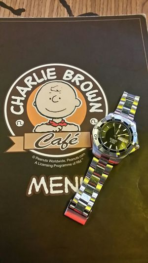 Automatic Watch Automaticwatch Watches Tag Heuer Tag Heaur Awesome Watch One Of The Luxurious Watch Of It Finally Got It Feeling Awesome ☺️❤️ Cafe Cafe Time Cafe Culture Cafeculture Charlie Brown Cafe Charlie Brown & Snoopy Charlie Brown Tradition Charlie Brown!