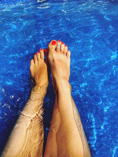 Happy feet 👣 Water Barefoot Swimming Pool Low Section Human Leg Human Foot Real People One Person Blue Relaxation Day Wet Human Body Part Pedicure