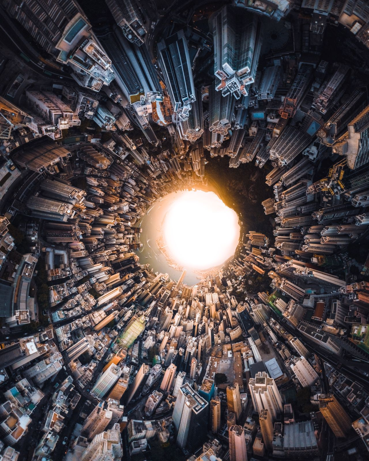 Little planet format image of cityscape
