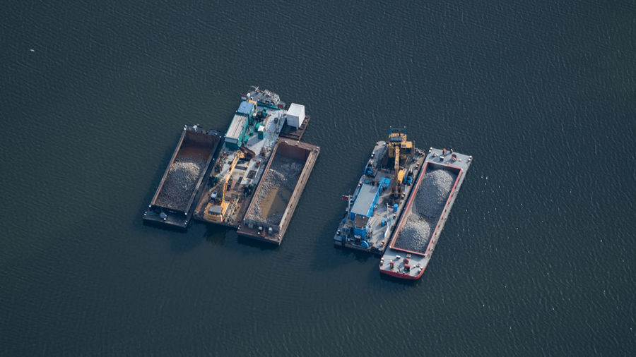Aerial view of offshore platform in sea