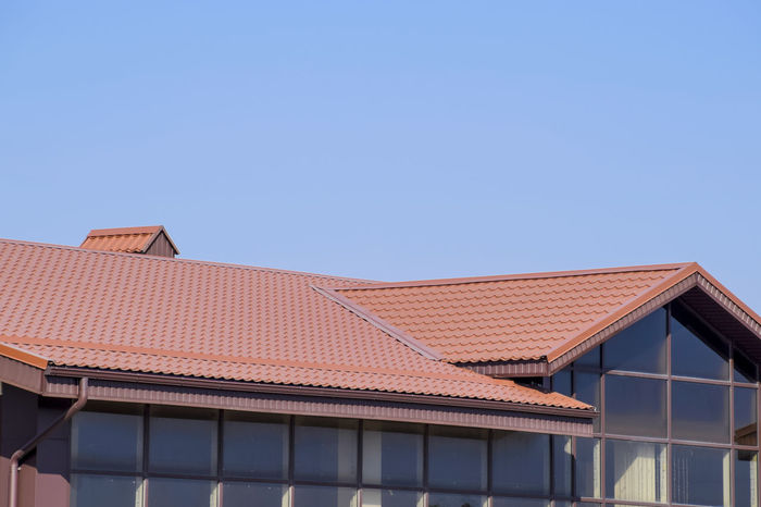 metal profile corrugated roof Architecture Blue Building Exterior Built Structure Clear Sky Day Metal Profile Corrugated Roof No People Outdoors Roof Roof Tile Sky Tiled Roof