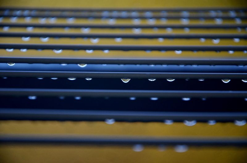 Close-up of drops of rain on clothes lines