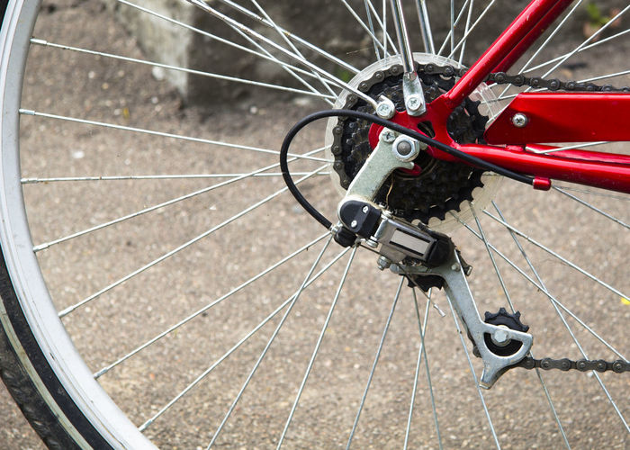 Close-up of bicycle gears on wheel
