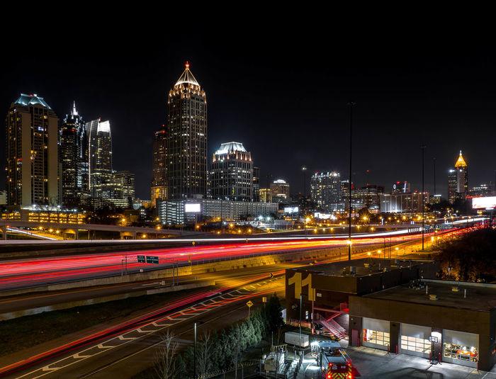 Atlanta City Skyline Nightphotography Long Exposure