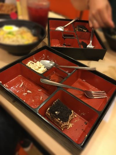 Leftover meals Food And Drink Food Indoors  Japanese Food Table Serving Size Chopsticks Freshness Ready-to-eat Close-up Healthy Eating One Person Human Hand Sushi Human Body Part Day People Done Eating Leftovers Bento Box Bentobox Finished Bento