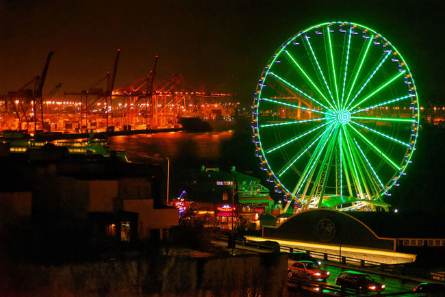 Ferris Wheel View Ferris Wheel Ferris Wheel At Night Night Lights Night Photography Nightphotography Port Of Seattle Seattle, Washington Amusement Park Amusement Park Ride Architecture Arts Culture And Entertainment Building Exterior Built Structure Elliot Bay Ferris Wheel Illuminated Night Night View Nightshot No People Outdoors Port Sky Water