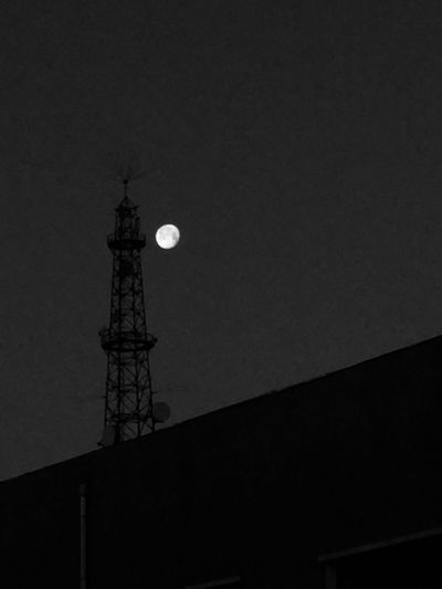 Built Structure Low Angle View Architecture Communication Sky Tower Global Communications Night Satellite Dish Moon Connection Broadcasting Satellite Tall - High Technology Telecommunications Equipment Outdoors No People Nature Antenna - Aerial