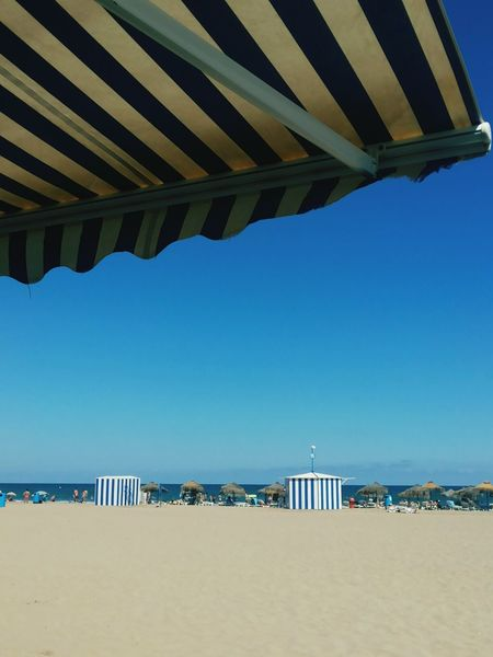 In Spain summer will survive for two more months. Blue Clear Sky Beach Water Sea Tranquility Vacations Tranquil Scene Sunshade Scenics Tourism Shore Outdoors Valencia, Spain Two Is Better Than One
