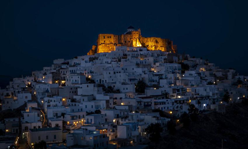 Buildings at santorini during night