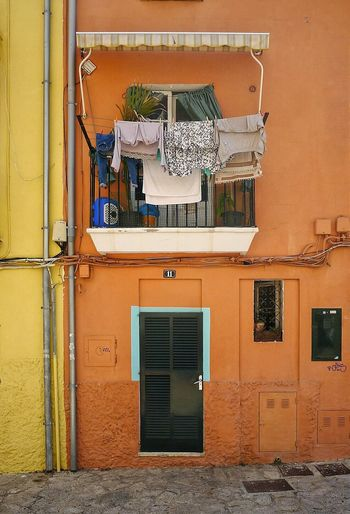 Facade Building Façade Spain Is Different Facade Colours Orange And Yellow Walls Balcony Stretched Stuff Architecture Details Mallorcaisland Daylight No People