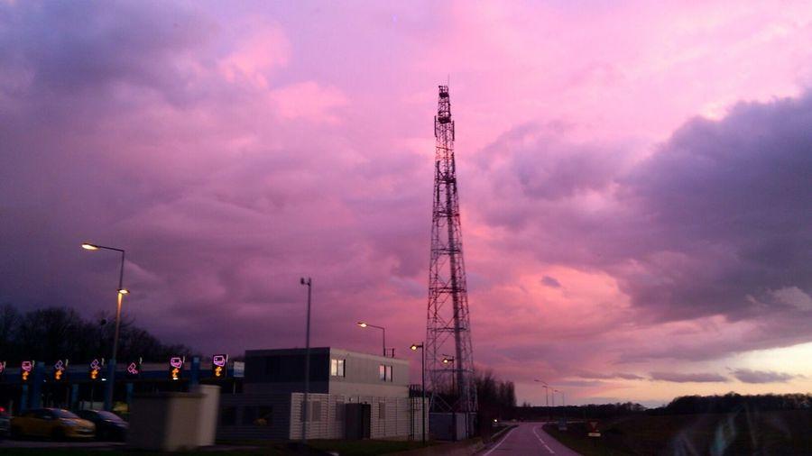 Cloudy sky at sunset