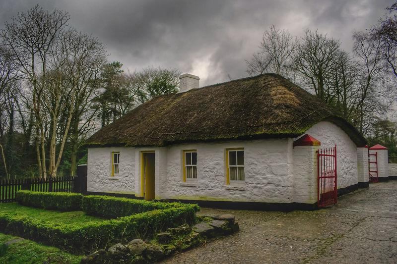 House against cloudy sky