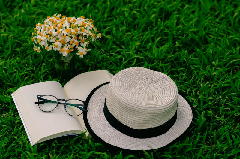 High angle view of hat on grass