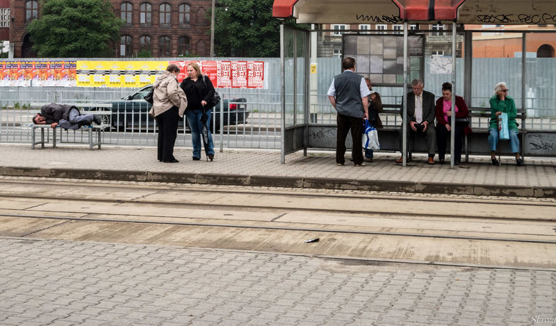 Mobility In Mega Cities Tram Stop City City Life Day Large Group Of People Men Outdoors People Public Transportation Transportation Waiting Women