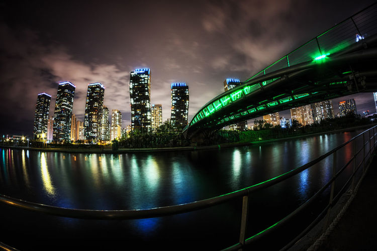 songdo central park at night in incheon, south korea Building Buildings Central Park City Exterior Incheon Korea Lake Lakes  Light Night Night Lights Night View Park Reflections Songdo Travel Urban