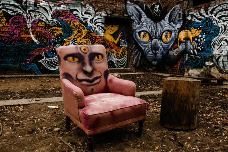 history meets art Art And Craft Creativity Graffiti Craft No People Abandoned Furniture Wall Streetart Streetart/graffiti StreetArtEverywhere Berlin Art Alice In Wonderland Aliceinwonderland Psychedelic Cat Crazy Cat Chair Armchair EyeEm Selects EyeEmArt EyeEmNewHerе Surrealism Wizard World Magical
