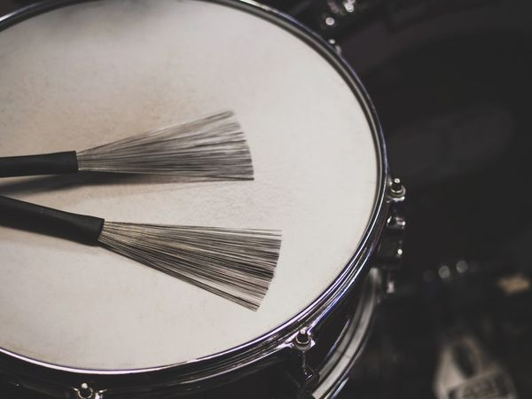 Arts Culture And Entertainment Musical Instrument Drum - Percussion Instrument Music Drumstick Indoors  Focus On Foreground Cymbal Close-up Drum Kit No People Wire Brush Jazz Jazz Music Drummer