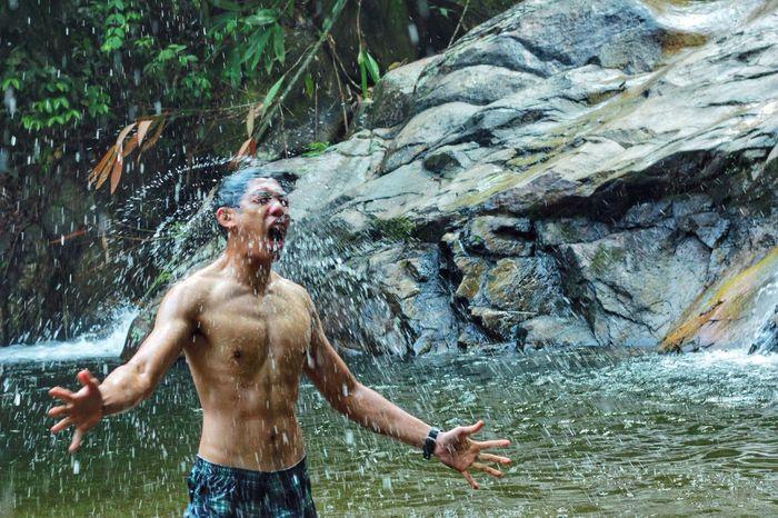 People Outdoor Shirtless Nature Motion Wet Water Waterfall Shirtless Fun Nature Naturelovers Happiness Enjoyment EyeEmNewHere EyeEmNewHere