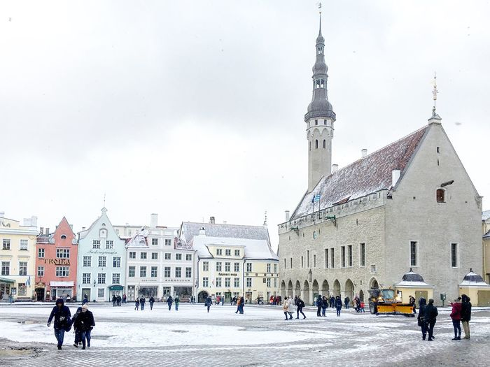 Tourists at town square