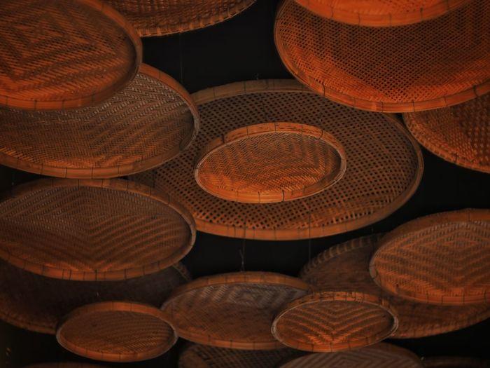Full frame shot of wicker basket for sale