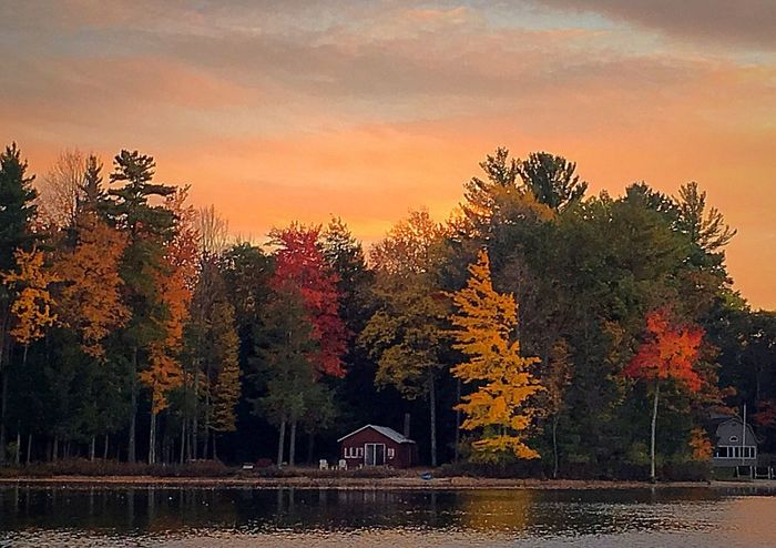 Autumn Sunset Tree Trees Change Colors Of Autumn Water Lake View Lake Built Structure Scenics No People Nature Beauty In Nature Tranquil Scene Tranquility Traverse City Michigan Beauty Michigan United States