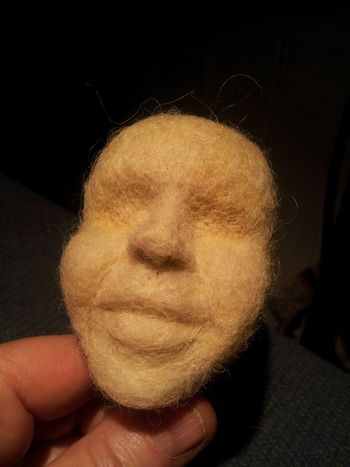 Mouth, cheeks and chin added Handmade By Me Artdolls Portrait Hello World