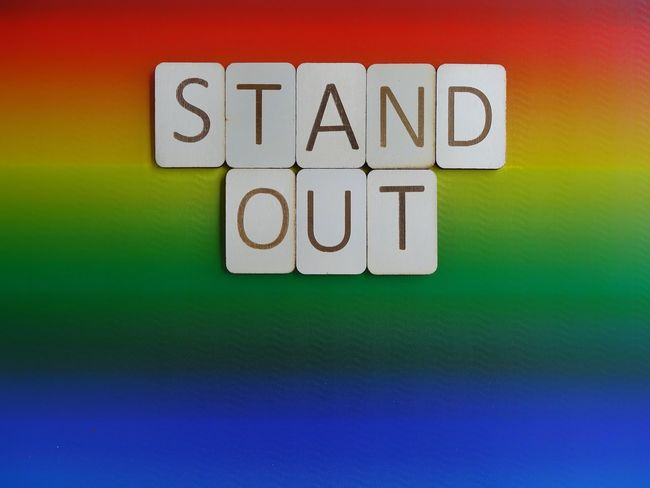 Stand out Words Pride Words To Live By  Letters Wooden Letters Wooden Gay Lesbian Lgbt Pride Lgbt Rainbow Colors Rainbow Stand Up Text Multi Colored Communication Single Word Green Color No People Indoors  Close-up Day