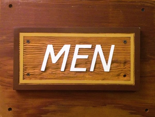 Door Sign for men's bathroom.