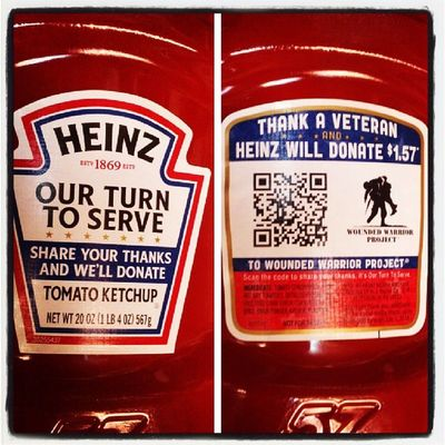Heinz Wwp Woundedwarriorproject Scan the code, thank veterans and Heinz will donate $1.57 to the Woundedwarriorproject