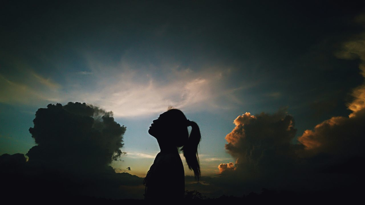 silhouette, cloud - sky, sky, one person, sunset
