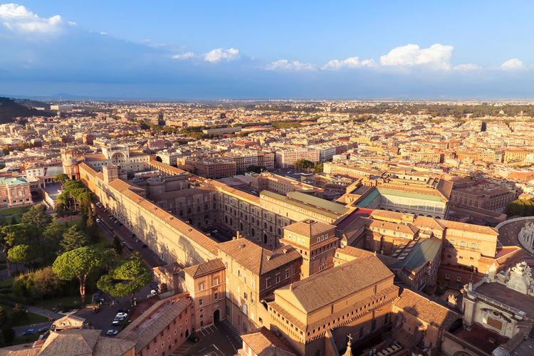 Rome city from St. Peter's Basilica Cityscape Rome Saint Peter's Basilica St. Peter's Basilica VaticanCity Architecture Building Building Exterior Built Structure City Cityscape Cloud - Sky Day Dome High Angle View Horizon Italy No People Outdoors Roof Sky Sunlight TOWNSCAPE Vatican Museum