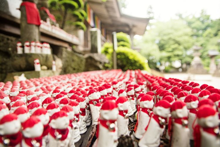 Red No People Outdoors Day Travel Destinations Building Exterior Water Tree Nature Freshness Close-up Yamadera Temple Jizo