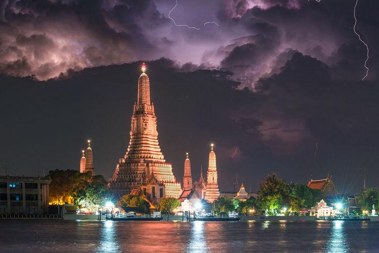 Illuminated temple against sky at night