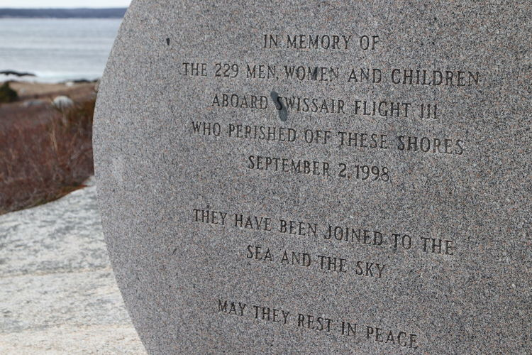 Swiss Air Memorial at Peggy's Cove. On September 2 1998 all 229 passengers and crew aboard the MD-11 died—the highest death toll of any McDonnell Douglas MD-11 accident in aviation history, and the second-highest of any air disaster to occur in Canada. Memorial Peggy's Cove Peggy's Cove Nova Scotia Air Crash Air Crash Memorial Kelly Mercer Swiss Air Swiss Air Memorial