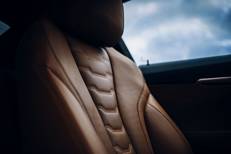 Close-up of vehicle seat in car