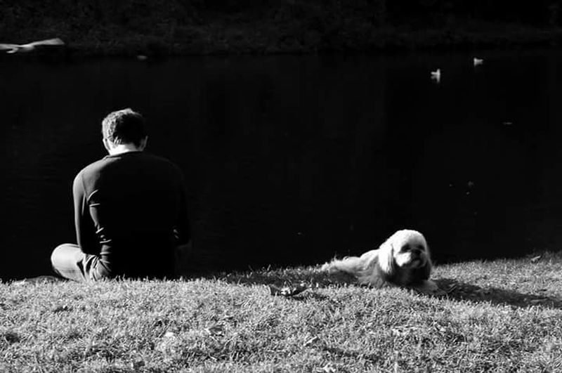 One Person TheWeekOnEyeEM Lake Dog Portrait Light And Shadows Black And White